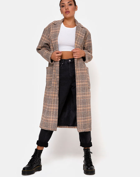 Duster Longline Coat in Glenn Check Natural By Motel