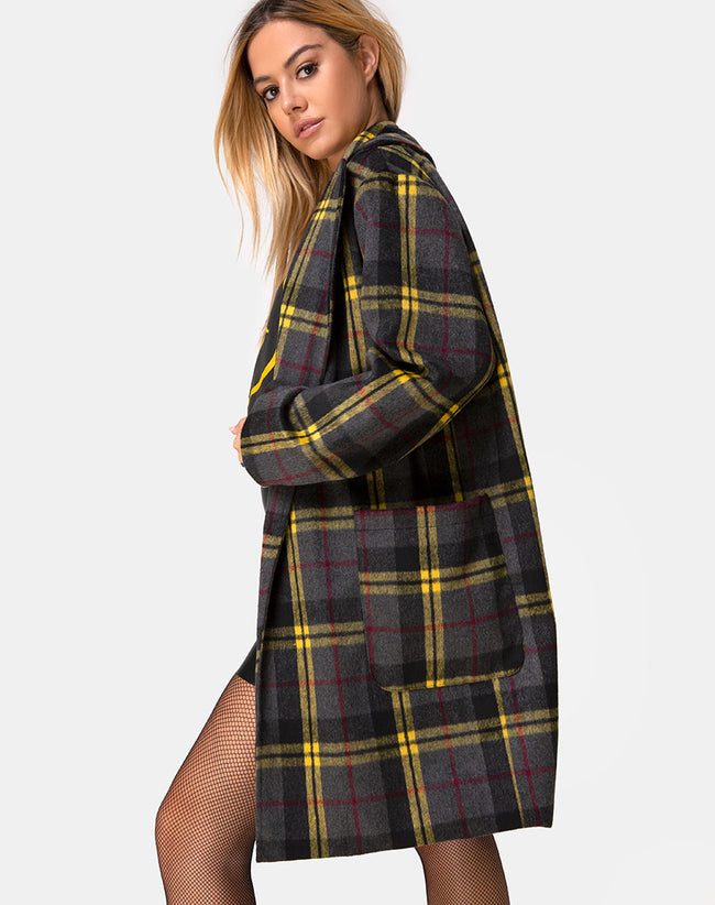 Dusty Coat in Check Yellow Brown