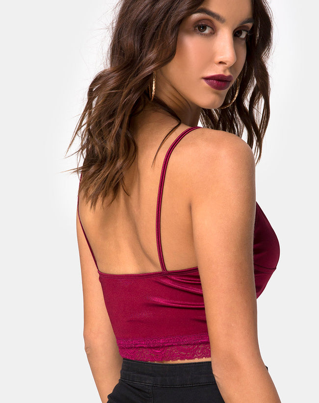 Dyrana Top in Burgundy with Burgundy Lace by Motel