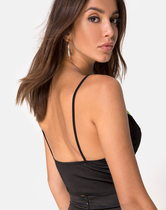 Dyrilla Top in Satin Black with Lime Lace by Motel