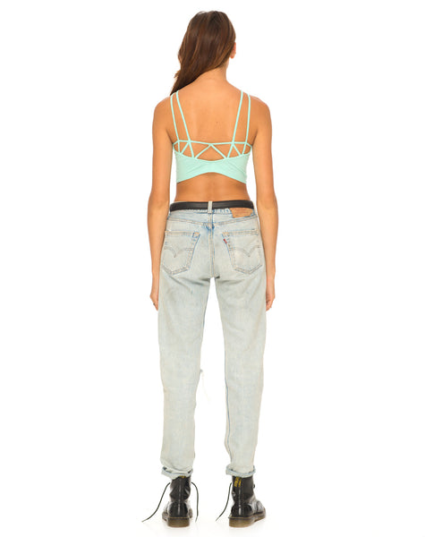 Motel Early Strappy Crop Top in Mint