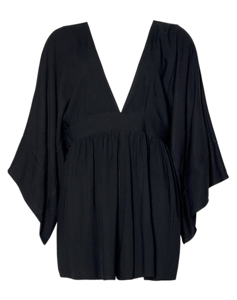 Eclipse Kimono Sleeve Playsuit in Black By Motel