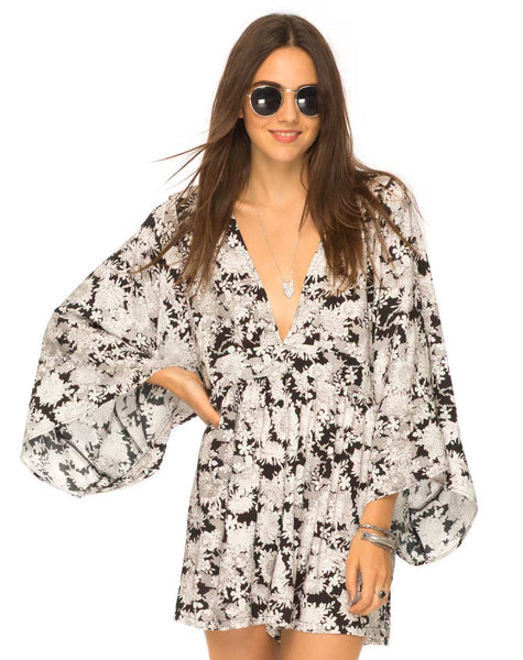 Eclipse Kimono Sleeve Playsuit in Angel Blossom by Motel
