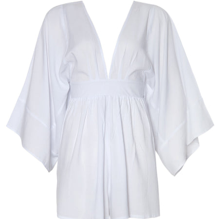 Eclipse Kimono Sleeve Playsuit in White by Motel