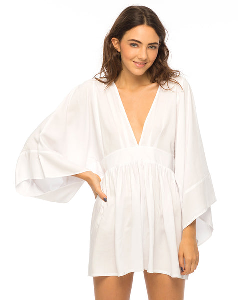 cd7f5531585 Eclipse Kimono Sleeve Playsuit in White by Motel – motelrocks.com