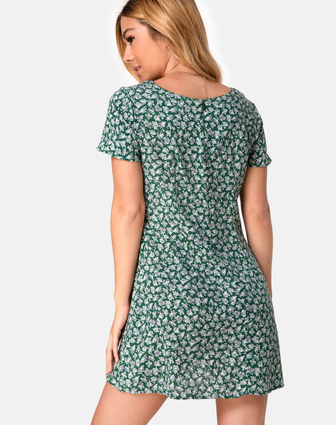 Elara Dress in Floral Bloom Green by Motel