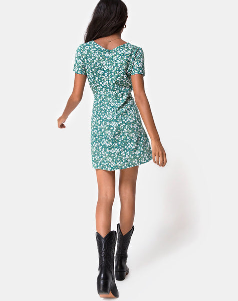 Elara Dress in Floral Field Green by Motel