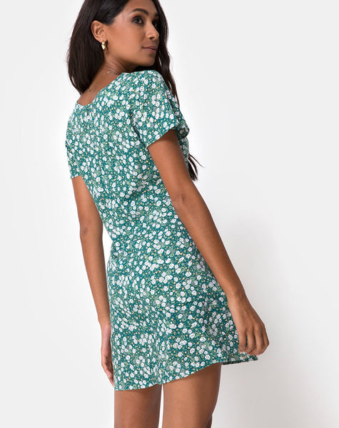 Elara Dress in Floral Field Green