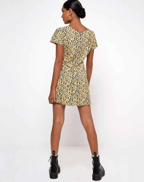 Elara Tea Dress in Mini Bloom Yellow by Motel