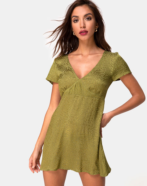 Elara Dress in Satin Cheetah Khaki by Motel