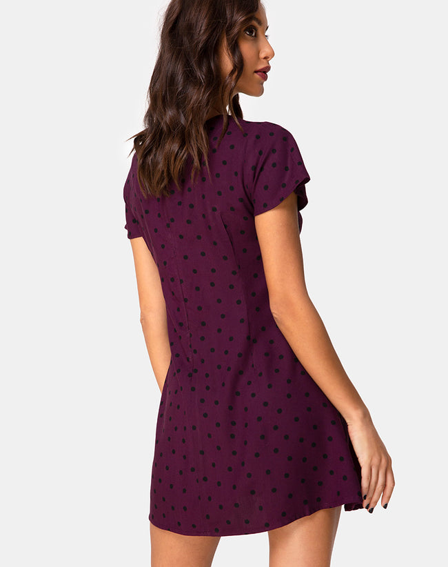 Elara Tea Dress in Skater Polka Wine by Motel