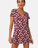 Elara Tea Dress in Wild Fleur Maroon by Motel