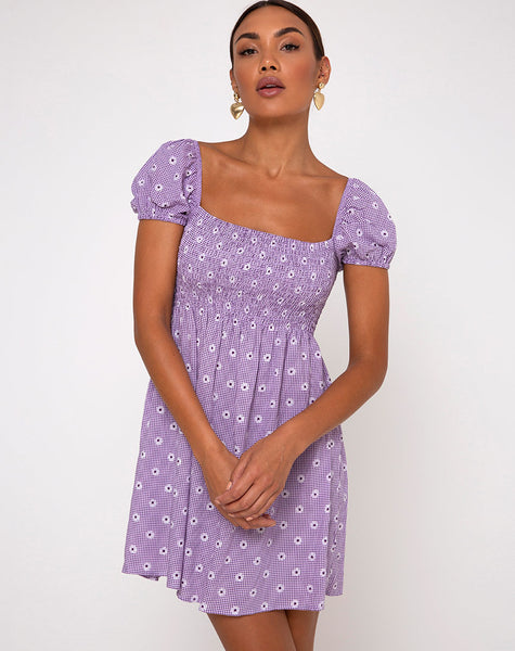 Eldre Dress in Daisy Field Lavender by Motel