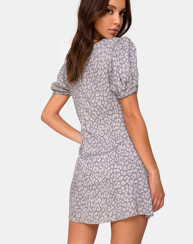 Elfy Dress in Leopard Daze Grey by Motel