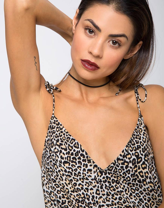 Elgia Slip Dress in Rar Leopard Brown by Motel