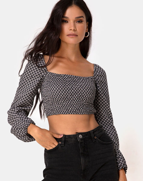 Elina Top in Check It Out Black by Motel
