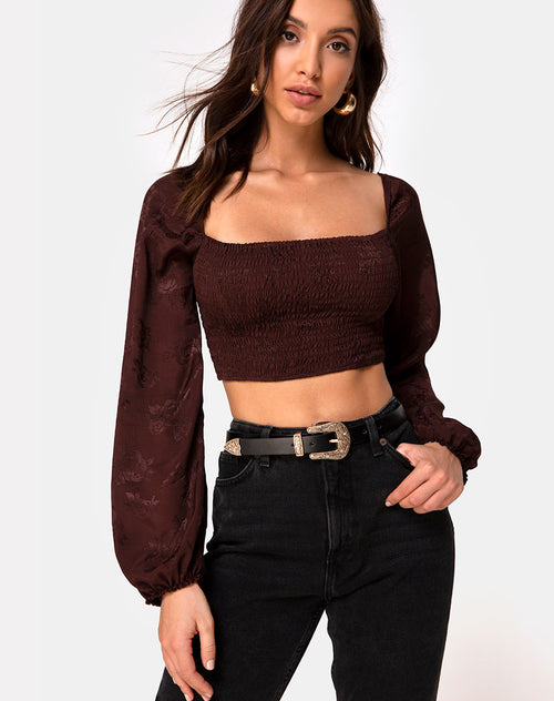 Elina Top in Satin Rose Cocoa by Motel