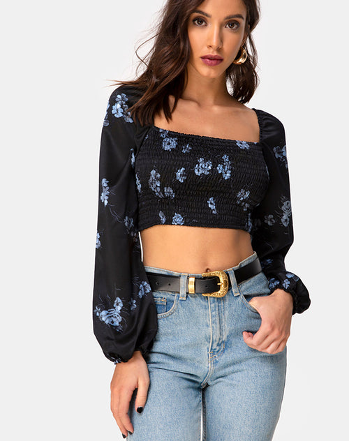 Elina Top in Satin Black Mono Flower by Motel