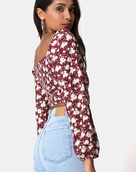 Elina Crop Top in Wild Fleur Maroon by Motel