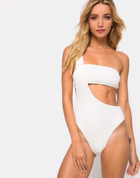 Yelda Plunge Swimsuit in Black and White Stripe by Motel