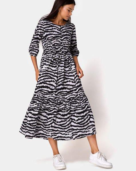 Ellery Dress Animal Drip Grey