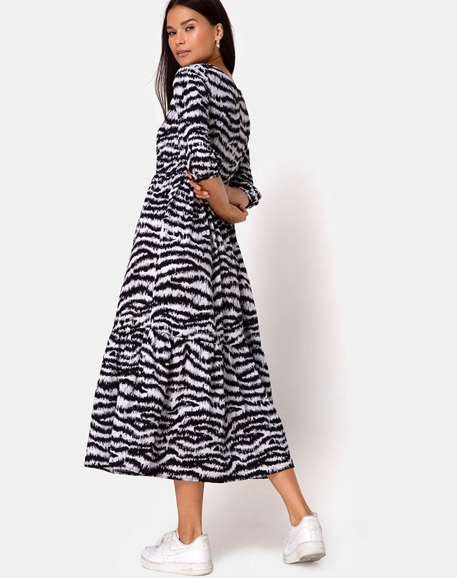 Ellery Dress Animal Drip Grey by Motel