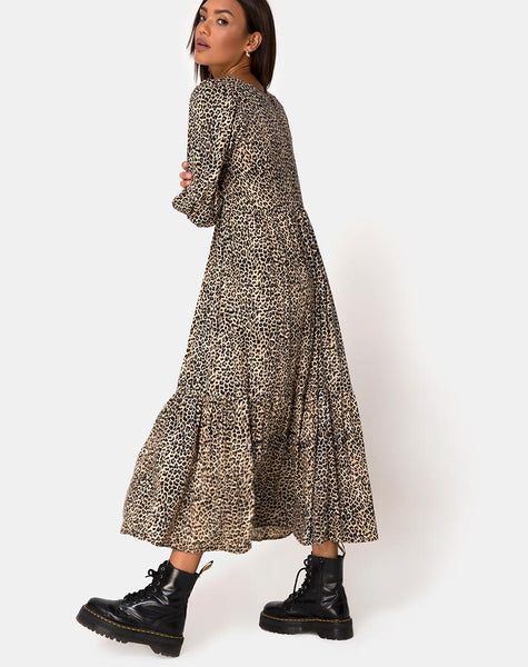 Ellery Dress in Rar Leopard Brown by Motel