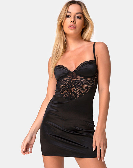 Espera Dress in Satin Cheetah Black by Motel