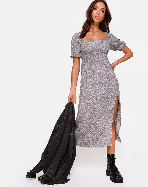 Eloya Midi Dress in Leopard Daze Grey by Motel