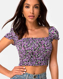 Elso Crop Top in Lilac Blossom by Motel