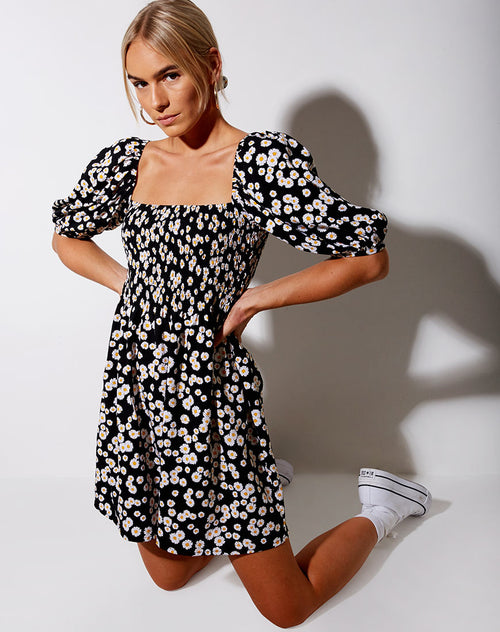 Eltra Babydoll Dress in Mini Daisy Black