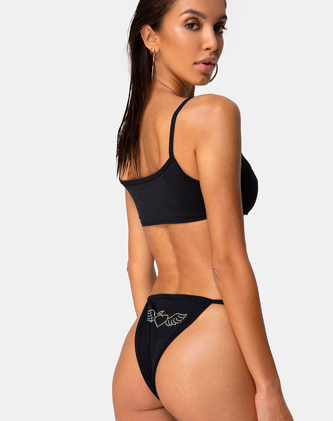 Valter Bikini Bottom in Matte Black with Diamante