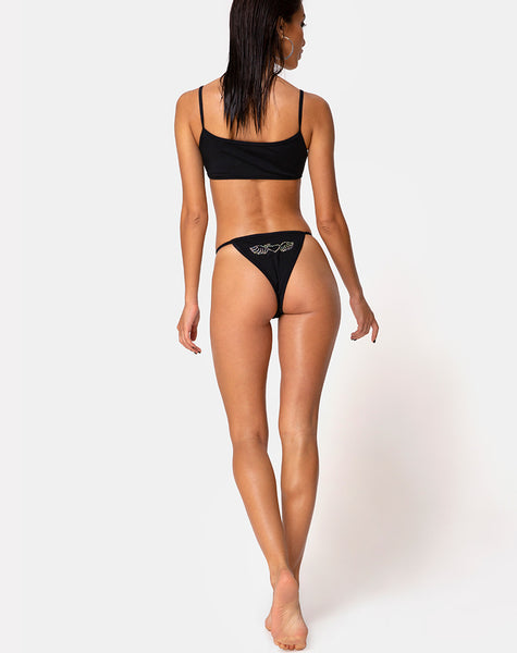 Valter Bikini Bottom in Matte Black with Diamante by Motel