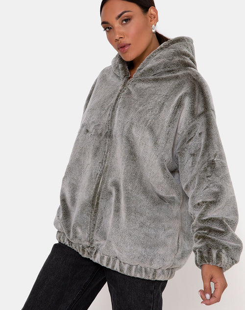 Emerson Jacket in Faux Fur Grey by Motel