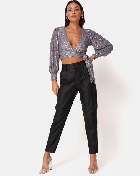 Erina Longsleeve Top in Drape Net Silver by Motel