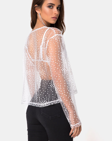 Ether Longsleeve Top in White Glitter on Net White by Motel