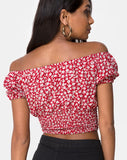 Evane Top in Ditsy Rose Red and Silver by Motel