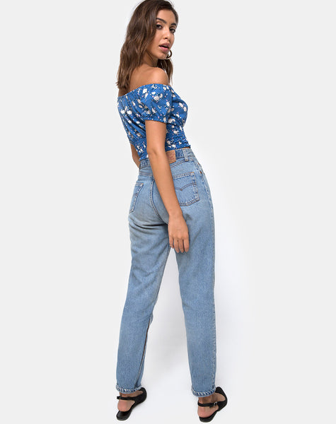 Evane Crop Top in Soheila Floral Blue by Motel