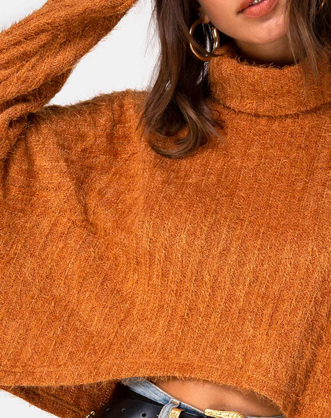 Evie Cropped Sweatshirt in Rust by Motel