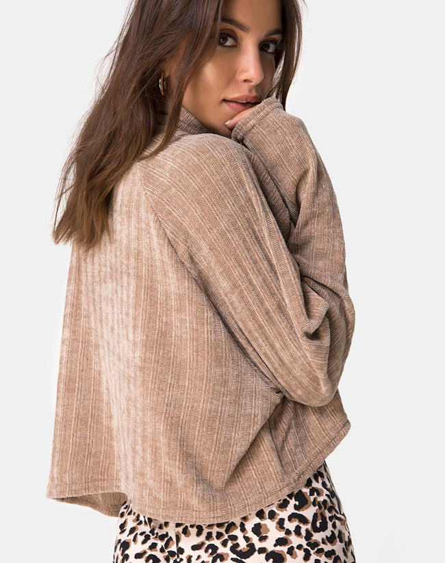 0f813c7d3e Evie Cropped Sweatshirt in Chenille Tan by Motel
