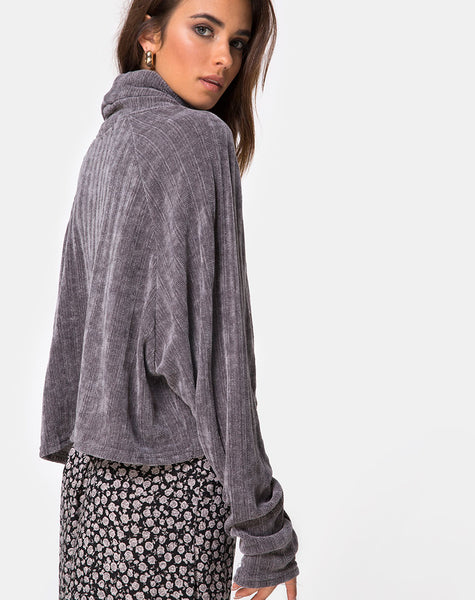 Evie Cropped Sweatshirt in Chenille Grey