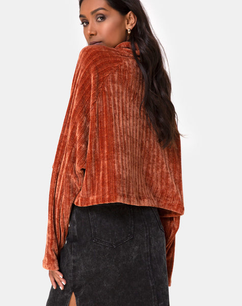 Evie Cropped Sweater in Rust Chenille