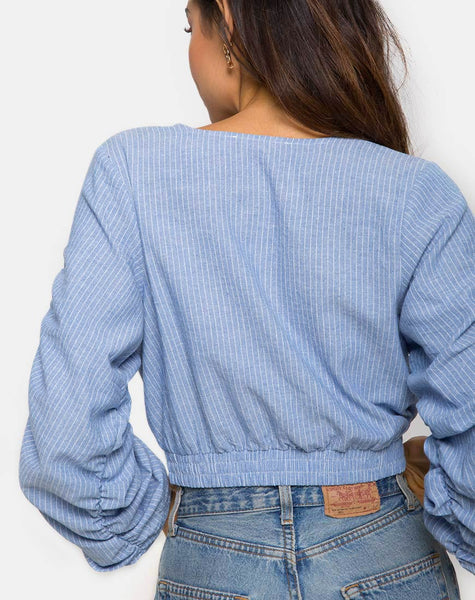 Evrilia Wrap Around Blouse in Stripe Blue by Motel