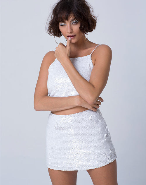 Ewi Skirt in Fishcale Sequin White Matte by Motel
