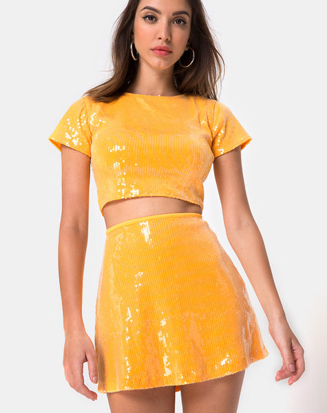 Ewi Skirt in Tangerine with Clear Sequin by Motel