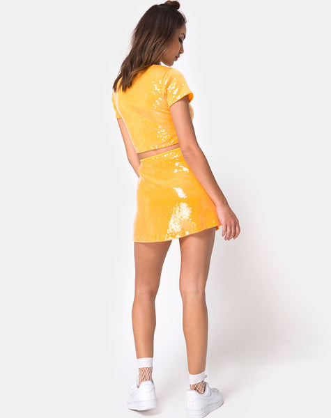 Ewi Skirt in Tangerine with Clear Sequin