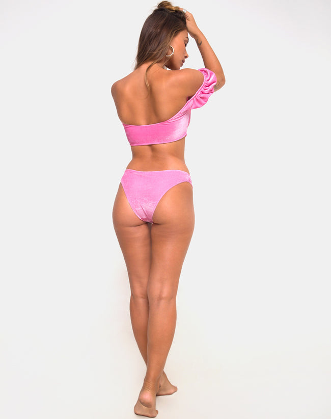 Fabienne Bikini Bottom in Velvet Candy Pink by Motel
