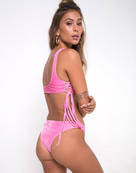 Fadel Bikini Bottom in Velvet Candy Pink by Motel