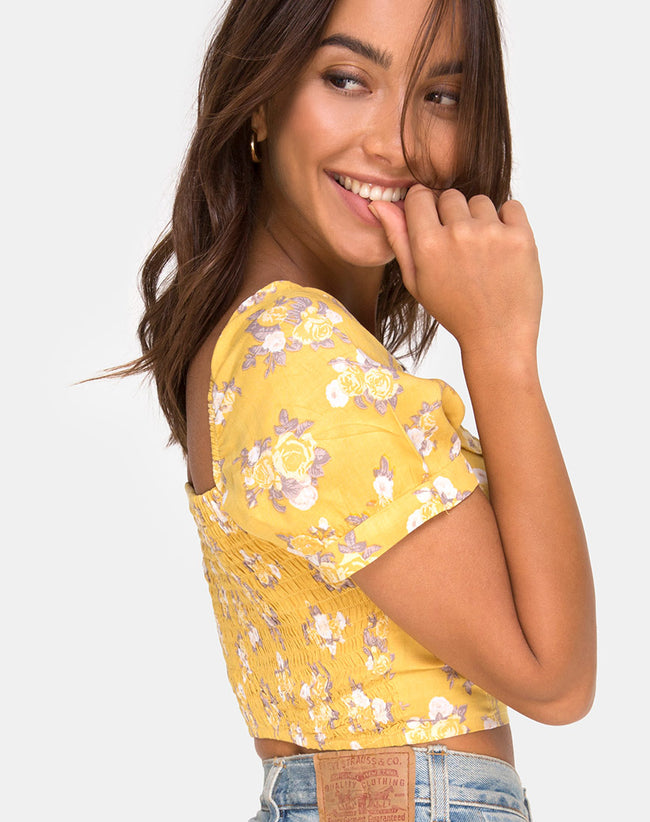 Fahrani Top in Rose Bunch Yellow by Motel