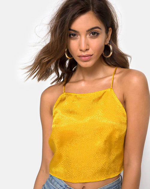 Fair Cami Top in Satin Mustard by Motel